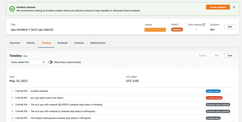 The Timeline tab displays events related to cpu-incident-1, including Incident Started, CPUUtilization added to metrics, and Incident status updated to RESOLVED.