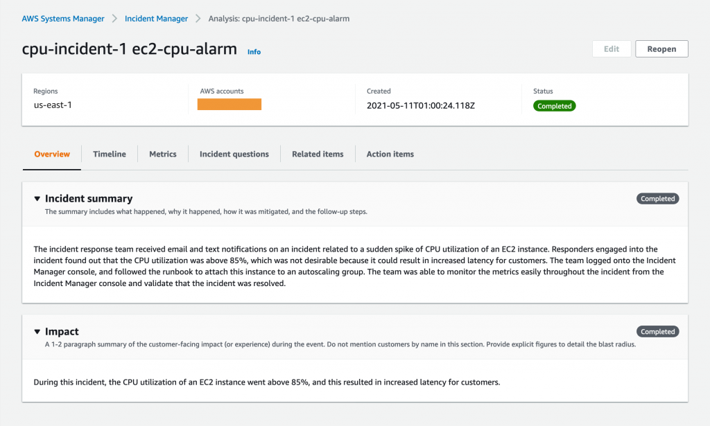 The post-incident analysis for cpu-incident-1 displays the Region (us-east-1), AWS accounts, and Status (Completed). It also includes Summary and Impact sections.
