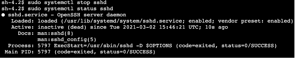 sshd service is stopped on the instance.