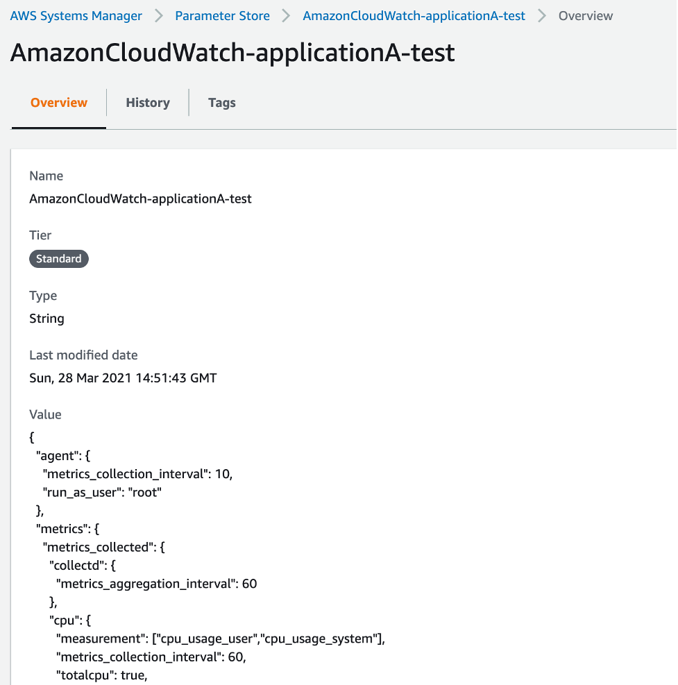 The Overview tab of AmazonCloudWatch-applicationA-test displays fields for tier (in this example, Standard), type (String), last modified date, and value.[