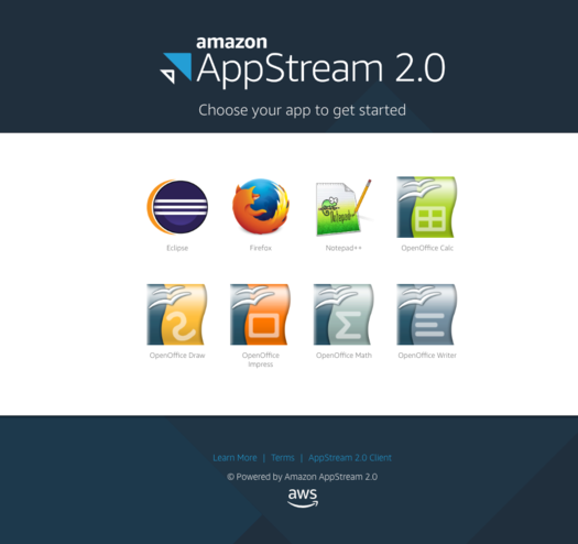 Amazon AppStream Landing Page