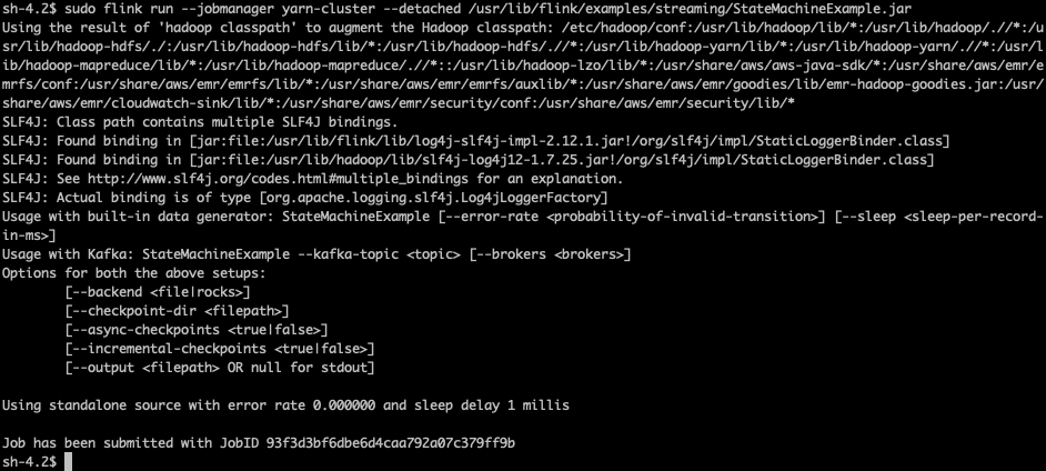 Remote shell output of starting the Flink example job, StateMachineExample. The output shows the job was submitted with job ID 93f3d3bf6dbe6d4caa792a07c379ff9b.
