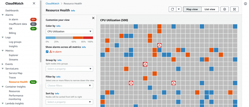 Figure1 Resource Health is available through the Amazon CloudWatch console under ServiceLens