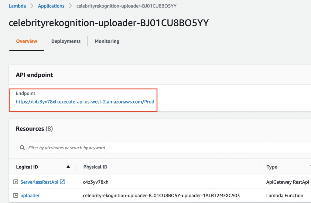The details page for the uploader application includes API endpoint and Resources sections. ServerlessRestApi and uploader are displayed under Resources.