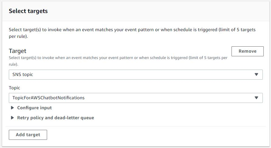 Select targets displays a Target section. SNS topic is selected from the dropdown as the rule target when the event is triggered. Under Topic, TopicForAWSChatbotNotifications is displayed.