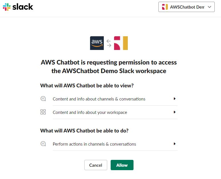 AWS Chatbot is requesting permission to access the AWS Chatbot Demo Slack workspace.