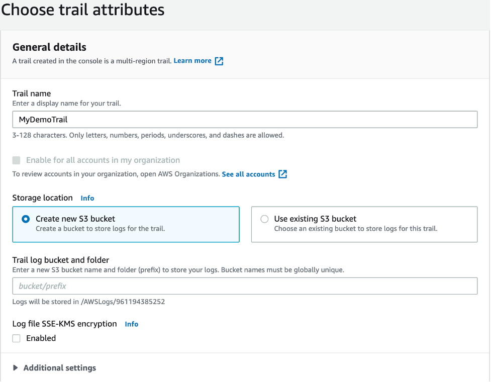 Choose trail attributes displays a field or trail name and a storage location section with fields for S3 bucket options, logging location, and log file encryption.