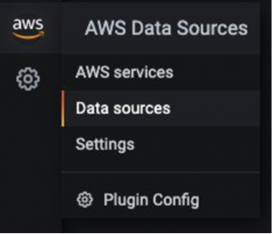 Under AWS Data Sources, there are items for AWS services, Data sources, Settings, and Plugin Config.