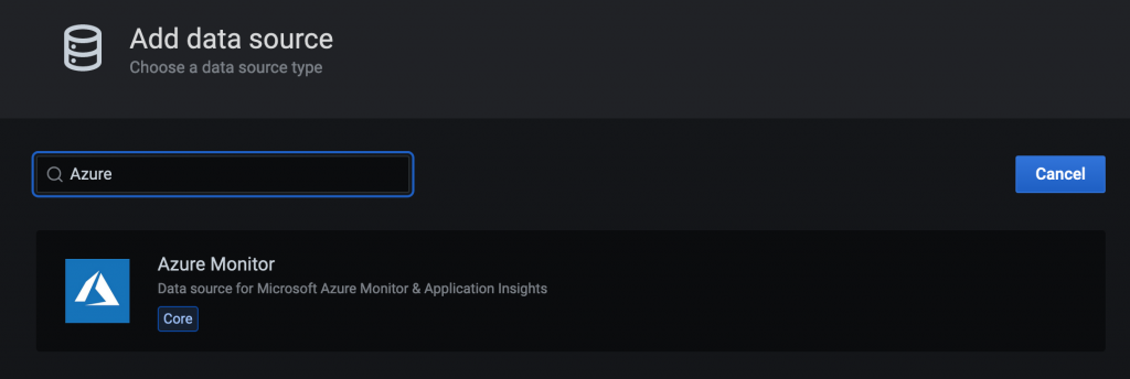 In Add data source, Azure is entered in the search field. Azure Monitor is displayed in the results.