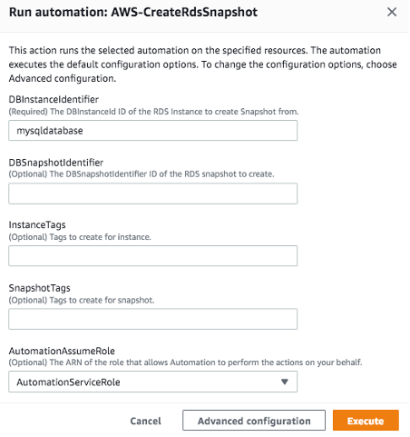 Run automation: AWS-CreateRdsSnapshot displays fields for DB instance ID, DB snapshot ID, instance tags, snapshot tags, and AutomationAssumeRole.