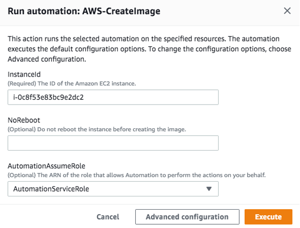 Run automation: AWS-CreateImage displays fields for instance ID, no reboot, and AutomationAssumeRole.