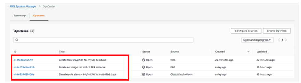OpsCenter page displays three open OpsItems. One has a source of RDS. One has a source of EC2. One has a source of CloudWatch Alarm.