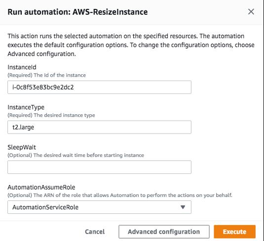 Run automation: AWS-ResizeInstance displays fields for instance ID, instance type, and AutomationAssumeRole.