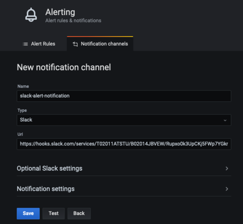 On New notification channel, there are fields for name (in this example, slack-alert-notification), type (Slack), and URL. There are also sections for optional Slack settings and notification settings.