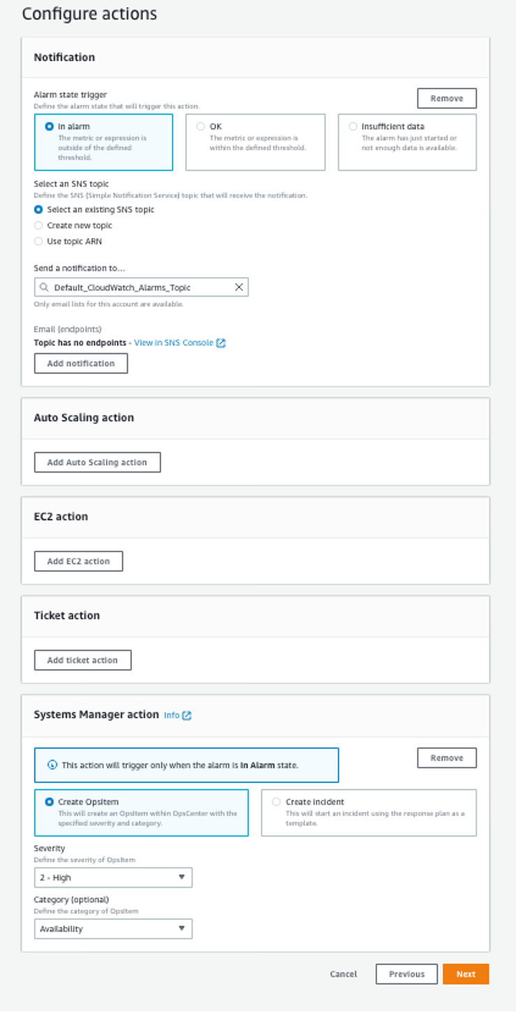 Configure actions page displays options selected as described in the blog post procedure
