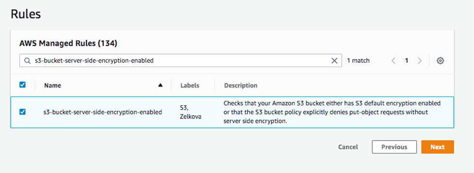 Under AWS Managed Rules, the search field displays s3-bucket-server-side-encryption-enabled.