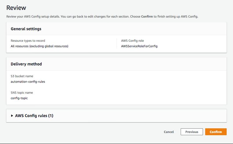 Confirming AWS Config rule creation.