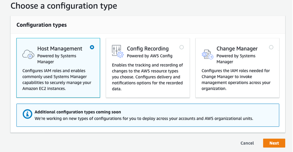 AWS Systems Manager Quick Setup configuration type