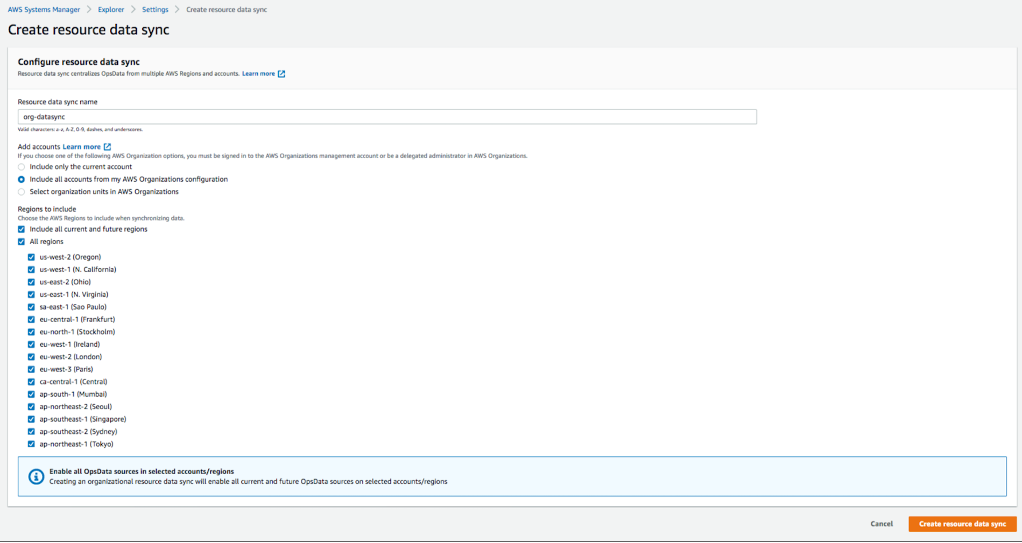Create resource data sync page displays values and selections as described in the blog post procedure.