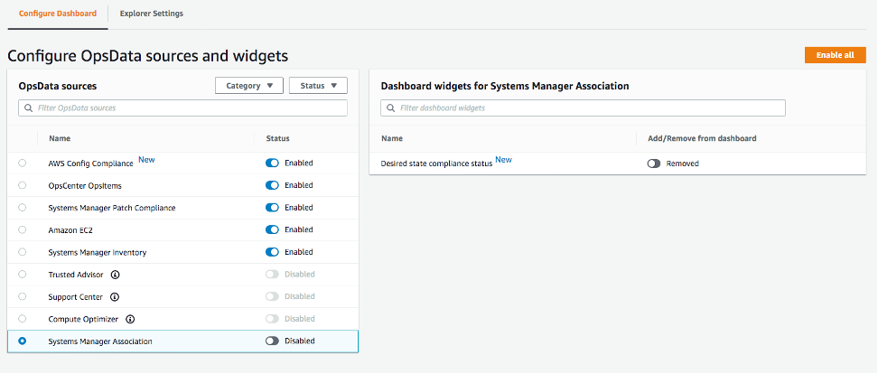 On Configure OpsData sources and widgets, the following OpsData sources are enabled: AWS Config Compliance, OpsCenter OpsItems, Systems Manager Patch Compliance, Amazon EC2, and Systems Manager Inventory.