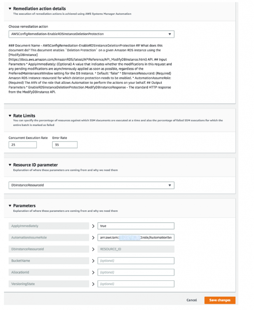 Remediation action details is expanded to display AWSConfigRemediation-EnableRDSInstanceDeletionProtection and details about the document. The Rate Limits, resource ID parameter, and Parameters sections are completed as described in the procedure.