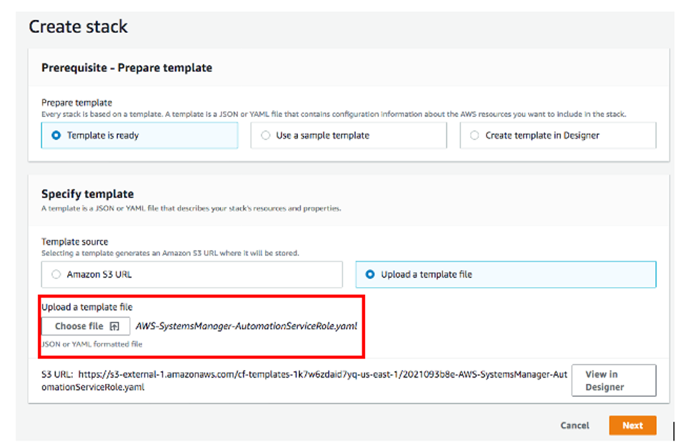 Under Specify template, the Upload a template file option is selected. Under Upload a template file, the AWS-SystemsManager-AutomationServiceRole.yaml file is displayed.