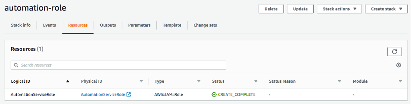 The Resources tab of the automation-role page is selected. It displays a logical ID (in this example, AutomationServiceRole), physical ID (AutomationServiceRole), type (AWS::IAM::Role), and status (CREATE_COMPLETE).