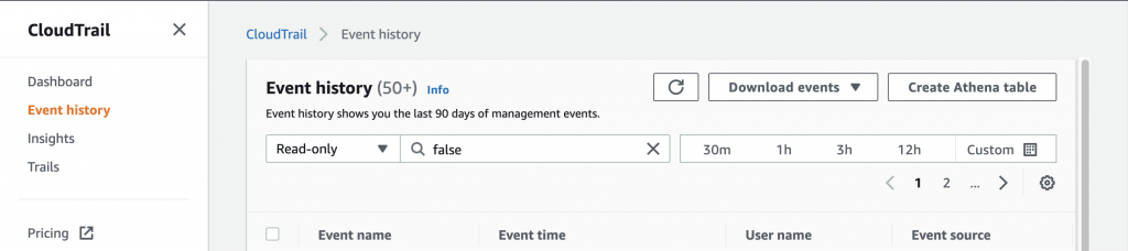 The Event history page displays the last 90 days of management events. It includes fields for filtering and Download events and Create Athena table buttons