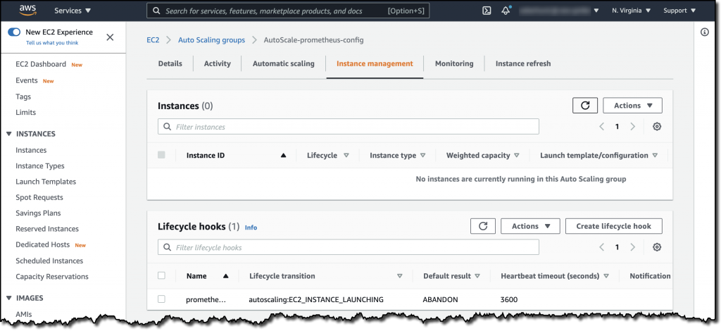 The lifecycle hook section of the AutoScale-prometheus-config Auto Scaling group. The hook has been configured for a lifecycle transition of autoscaling:EC2_INSTANCE_LAUNCHING, a default result of ABANDON, and a heartbeat timeout of 3600 seconds.