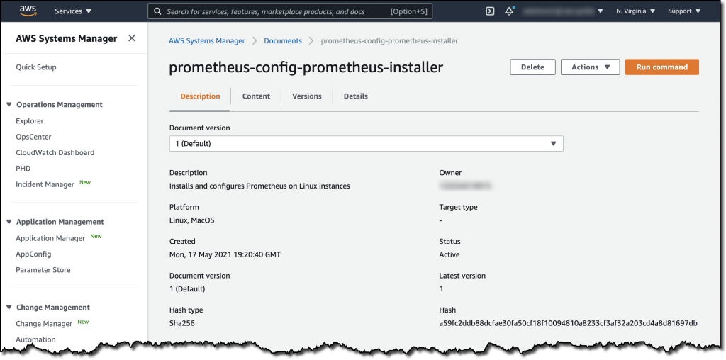 The details of the AWS Systems Manager Command document include the description (Installs and configures Prometheus on Linux instances), platform, created date, owner, status, and more.