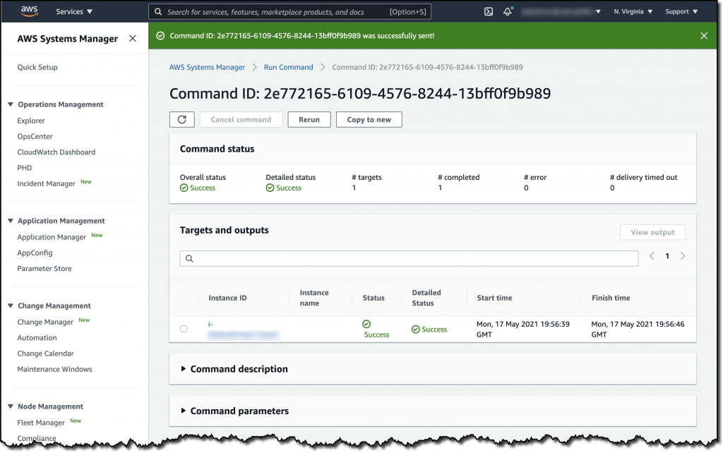 The Run Command details show that the command was successfully executed against the selected EC2 instance. The page also displays Command description and Command parameters sections.