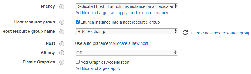 EC2 Launch Wizard settings with tenancy set to Dedicated Hosts, the Host resource group option checked, and host resource group name specified to HRG-Exchange-1.