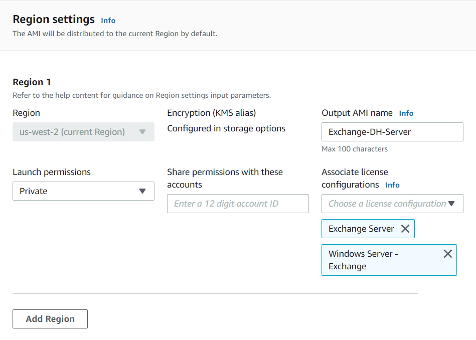 """EC2 Image Builder settings for associating the license configurations """"Exchange Server"""" and """"Windows Server – Exchange""""."""