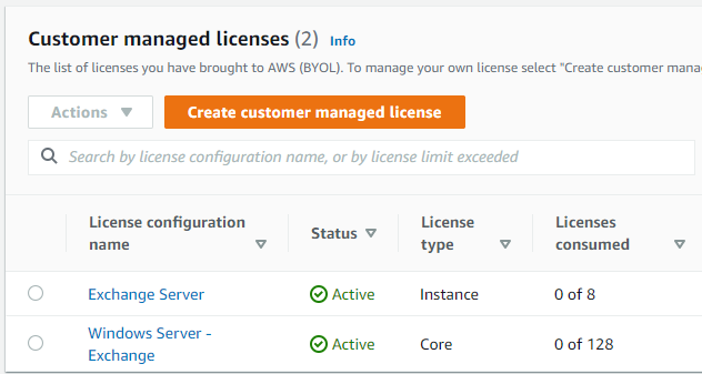 Completed example of two license configurations named Exchange Server and Windows Server – Exchange.