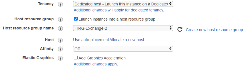 Launch Wizard settings with tenancy set to Dedicated Hosts, the Host resource group option checked, and host resource group name specified to HRG-Exchange-2.