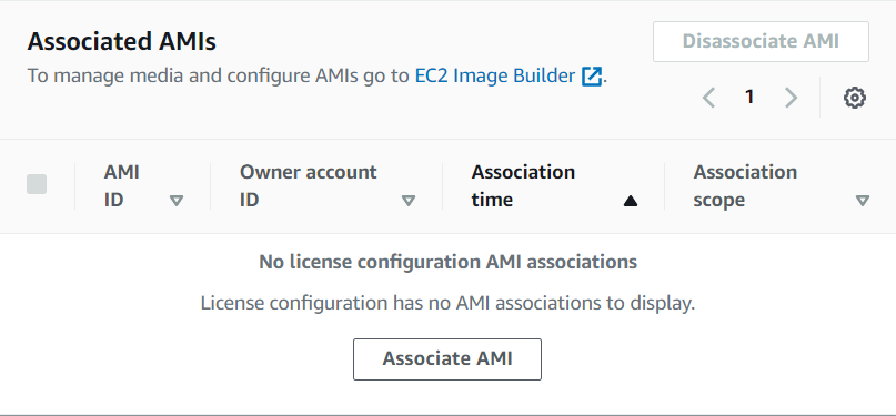 """License configuration tab with the """"Associate AMI"""" button that will be clicked to add a private AMI."""