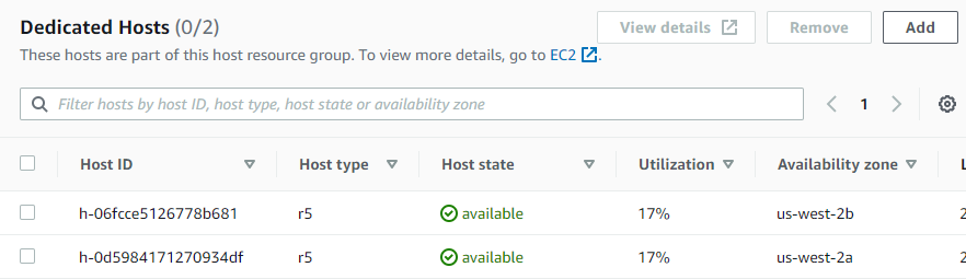 The list of Dedicated Hosts allocated in the host resource groups configuration.