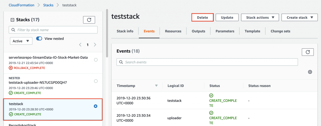 Deleting the teststack stack from the AWS CloudFormation console.