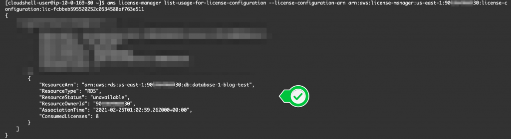 The list-usage-for-license-configuration command returns the ARN, resource type (RDS), resource status (unavailable), resource owner ID, association time, and consumed licenses (8).