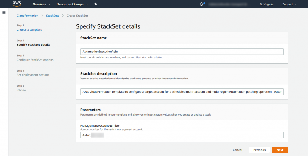Example parameters for the StackSet deployed in the management account.