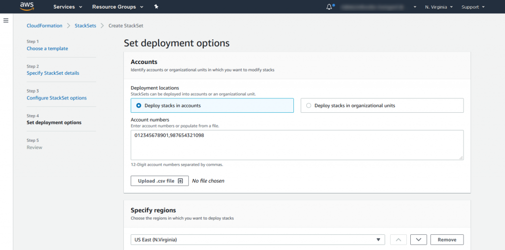 Example deployment locations for the StackSet created in the management account.