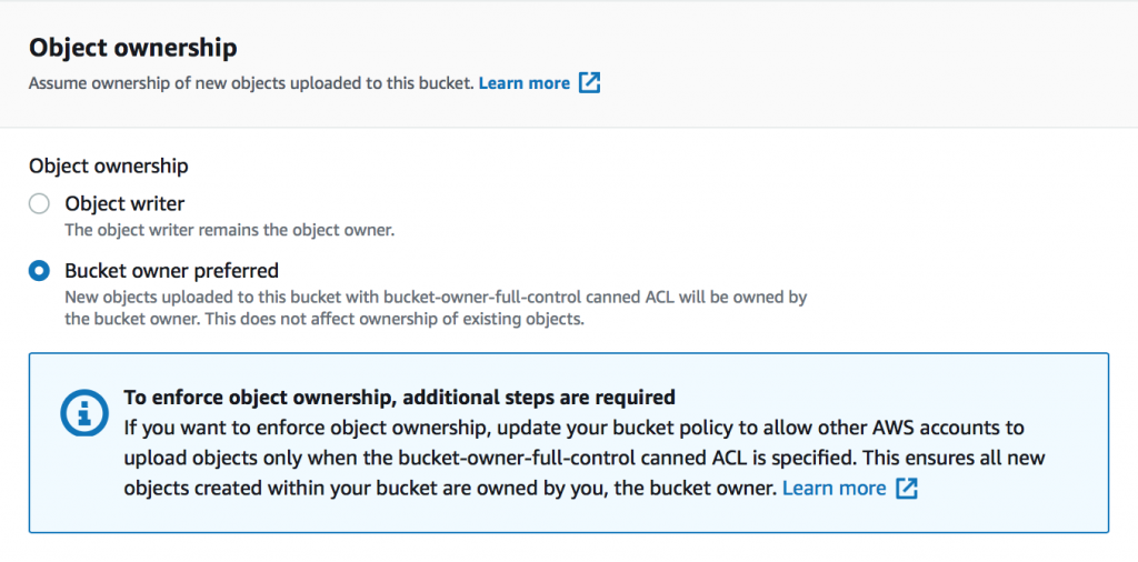 The Object ownership section displays two options: Object writer and Bucket owner preferred.