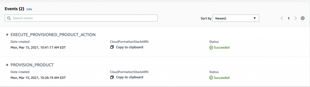Collapsed view of the two provisioned events in a provisioned product.