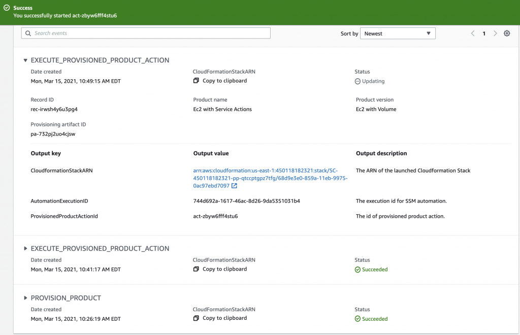 Provisioned product details page shows the outputs of a service action. The created Snapshot Payload is highlighted.