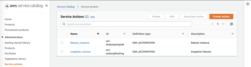 In Service Actions, Reboot_instance and snapshot_volume are displayed in the list.