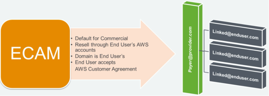 Default for commercial. Resell through end user's AWS accounts. Domain belongs to end user. End user accepts the AWS Customer Agreement.