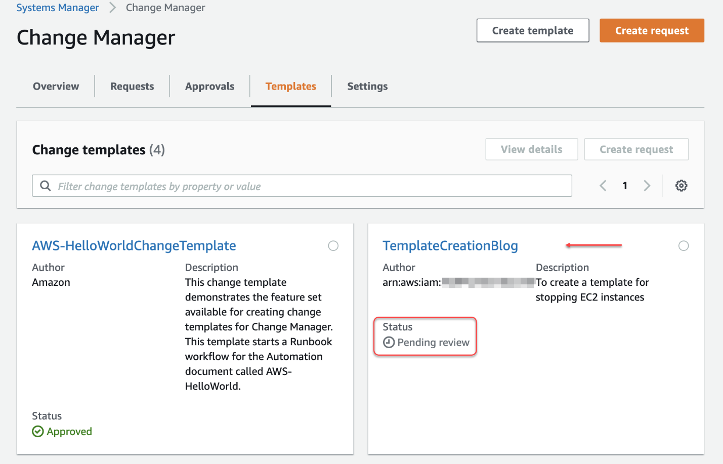 On the Templates tab, the TemplateCreationBlog template has a status of Pending review.