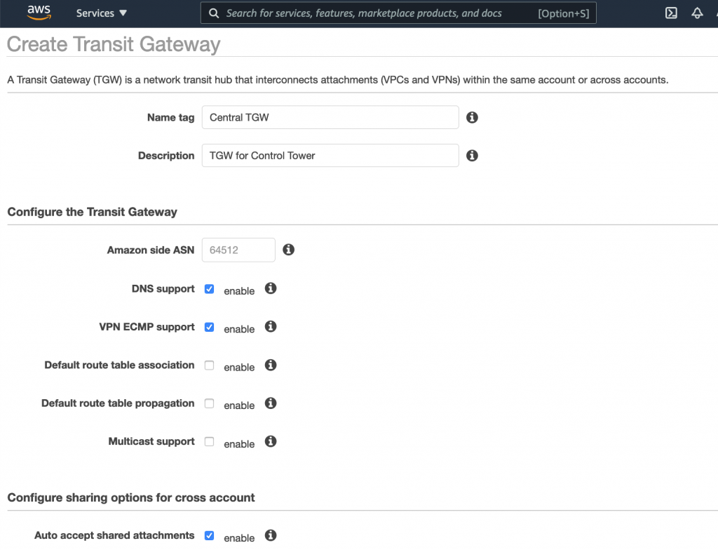 The Create Transit Gateway page displays fields for name tag and description. Under Configure the Transit Gateway, the Default route table association and Default route table propagation check boxes are cleared. The Auto accept shared attachments check box is selected.