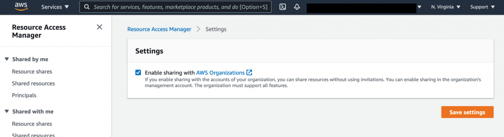 On the Settings page, the Enable sharing with AWS Organizations check box is selected.