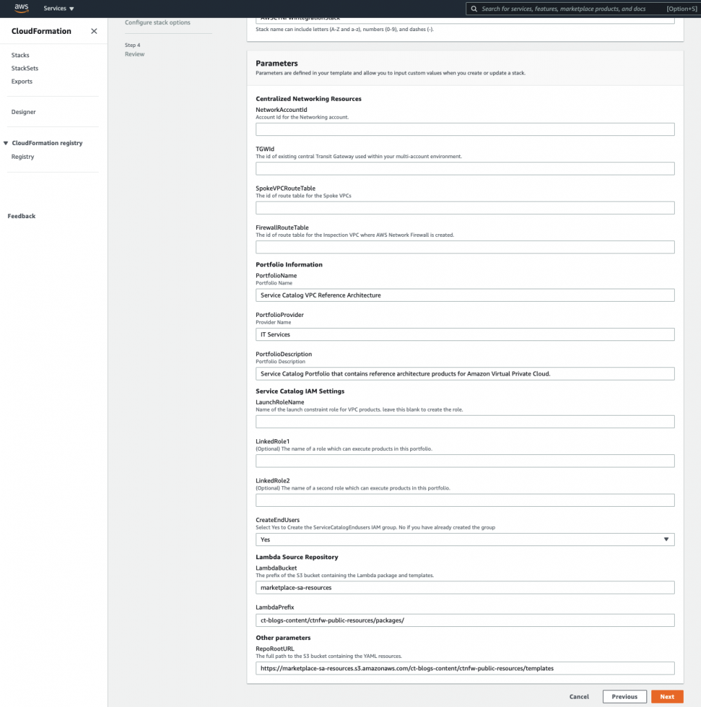 The CloudFormation stack creation page, shows the list of parameters required for the deployment.